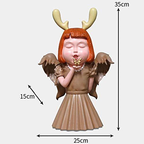 COCECOCE Gartenfiguren Harz Handwerk hauptdekorationen niedlichen Engel wenig Drachen mädchen Figuren Statue Kinder Schlafzimmer Ornamente Mehrfarbig