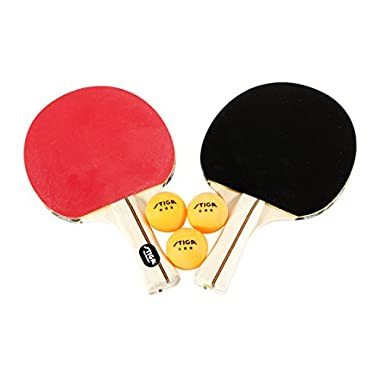 STIGA Performance 4-Player Table Tennis Racket Set Includes Four Performance Rackets and Six 3-Star Balls