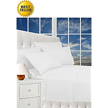 Best Seller Luxurious Bed Sheets Celine Linen 1800 Thread Count Egyptian Quality Wrinkle Free 4-Piece Sheet Set with Deep Pockets 100% HypoAllergenic, Queen White