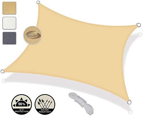 WQL Sonnensegel rechteckig Wasserdichtes - 2.5x2.5m Sonnen Segel Sonnenschutz Outdoor Sail Garden Canopy Terrace Schwimmschirm-4x6m Creamy-White