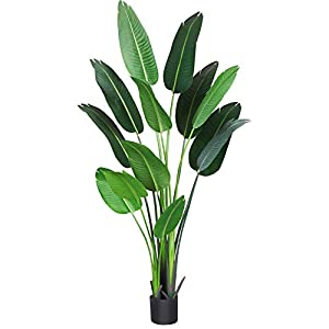 Silk Flower Arrangements Fopamtri Artificial Bird of Paradise Plant 5.5 Feet Fake Palm Tree with 13 Trunks Faux Tree for Indoor Outdoor Modern Decoration Feaux Plants in Pot for Home Office Perfect Housewarming Gift