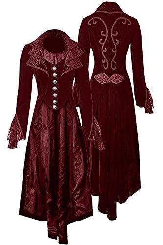 Womens Gothic Vintage Velvet Corset Jacket Steampunk Victorian Tailcoat Jacket Halloween Costume(Wine Red,L)