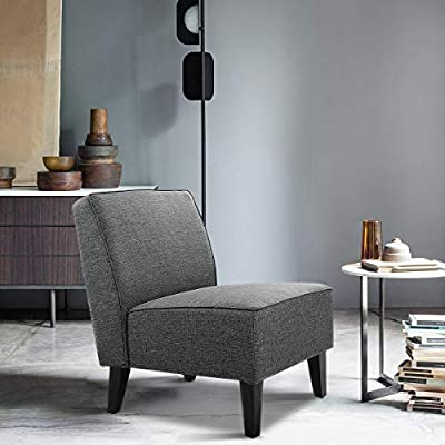 Giantex Upholstered Armless Accent Fabric Chair w/Wood Legs, Comfy Single Sofa Modern Slipper Chair w/Wide Seat 24Inch… - 📖【Comfortably Padded Seat】This armless chair seat is padded with numerous high-resiliency foam and supported by a sturdy and durable wood frame. Not only does it provide a relaxing chair but also withstand extensive use through time. 📖【Easy to Install and Move】All hardware, accessories and instructions are included. The installation is simple and easy and you can finish it in few minutes. Because of lightweight design, it is also easy for you to move it. 📖【Solid Wood Frame】Solid wood frame ensures the stability and durability of the chair. Four legs are made of durable and sturdy pine wood and handled with exquisite paint. With powerful weight capacity, our chair gives your safer sitting experience. - living-room-furniture, living-room, accent-chairs - 410fsxFeCEL. SS400  -