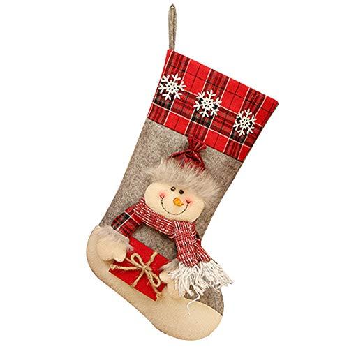 Ruikey Media de Navidad Calcetines de Navidad Chimenea Calcetin de Decoraciones de Navidad para Bolsa de Regalo de Dulces Decoración del árbol de Navidad 46 * 22CM