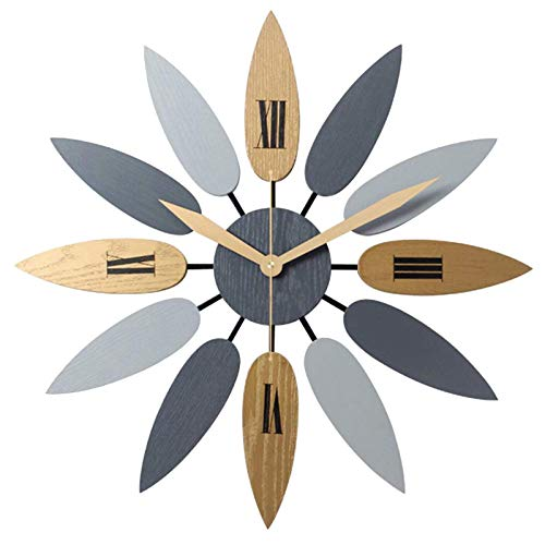 HUHN Reloj de pared vintage reloj de pared silencioso grande sin tic-tac reloj de pared de hoja reloj grande silencioso creativo hogar sala de estar comedor dormitorio reloj-reloj...