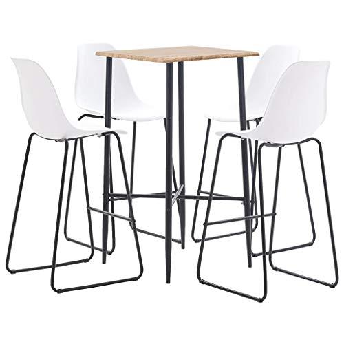 Festnight 3 Piece Bar Set, Garden Patio Furniture, Coffee Table and 2 Chairs for Home Garden Bar Pub Restaurant Plastic White