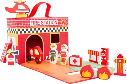 Small Foot Wooden Toys Fire House Themed playworld in a Carrying case Designed for Children 3+