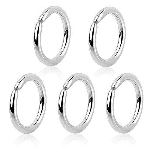 Body Jewellery Shack ~ Set of 5~8mm x 1mm 18G Annealed Ring Hoop Nose Lip, Ear Ring bar daith Tragus snug Rook Helix Conch 316L Surgical Steel (5 Pc 8mm x 1mm (5/16 x 18G))