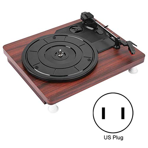 Bewinner1 Vinyl Record Player, Record Player with Speakers PVC Flat Wooden Case 3 Speed for Home Audio and Video Equipment Best Gift 100-240V(US)