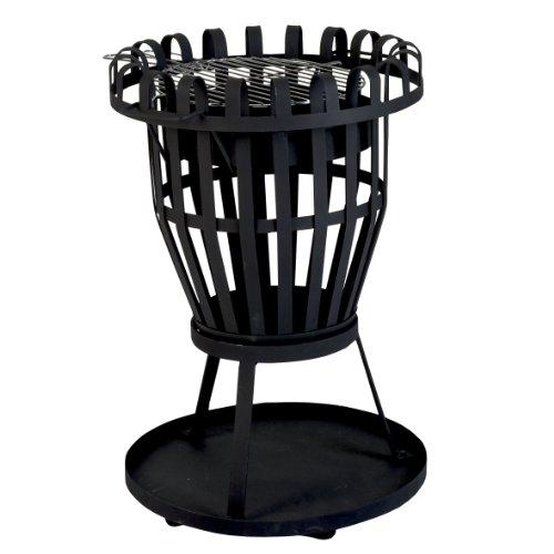 Kamino Flam Grill und Feuerkorb Nika, Feuerschale mit Grillrost, runder Gartenkamin mit Dreibein-Gestell, schwarz, pulverbeschichtetes Stahlblech