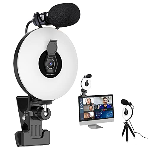 HD 1080P Webcam with Ring Light and Microphone kit, Auto-Focus, Adjustable Brightness,Video Cam Clip on for Online Learning, Zoom Meeting,Live, PC Desktop Computer(Not Suitable for laptops)