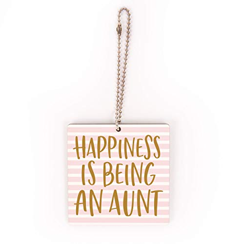 P. Graham Dunn Happiness Aunt Pink Striped 2.75 x 2.75 Wood Decorative Hanging Charm Ornament