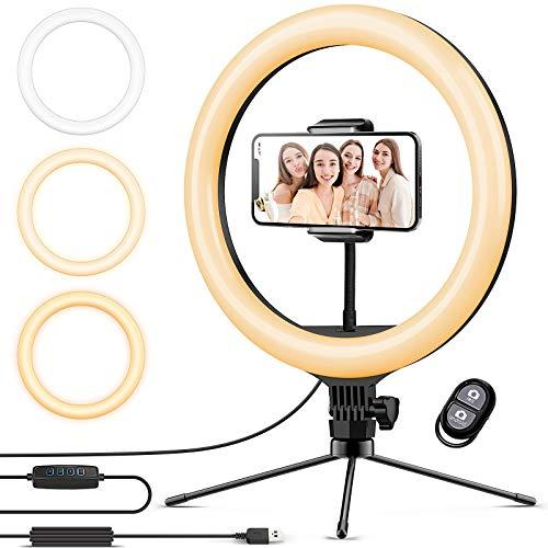 Ringlicht mit Stativ 12.8 Zoll und Telefonhalter, 3 Farbe Dimmbarer LED-Kameralichtring und 10 Helligkeitsstufen für Live-Streaming/Vlog /YouTube /TikTok/Make-up, kompatibel mit iPhone/Android-Handys