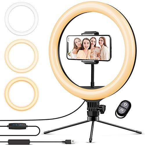 Ringlicht mit Stativ 12.8 Zoll und Telefonhalter, 3 Farbe Dimmbarer LED-Kameralichtring und 10 Helligkeitsstufen für Live-Streaming/Vlog /YouTube...