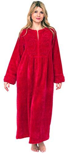 Bath & Robes Damen Bademantel, Chenille, volle Länge, 100% Baumwolle - Rot - Medium