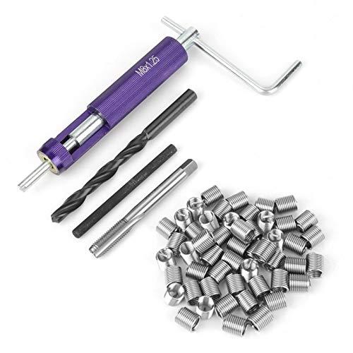 Inserto de reparación de roscas, 50 piezas de inserciones helicoidales de alambre en espiral de acero inoxidable M8 x 2D, con herramienta de instalación, grifo dedicado, rompe espigas y broca