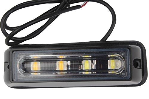 hehemm 4 LED Blanc & Amber étanche Éclairage d'urgence flash Prudence Strobe Light Bar 16 Divers clignotement pour voiture SUV Pickup Truck Van