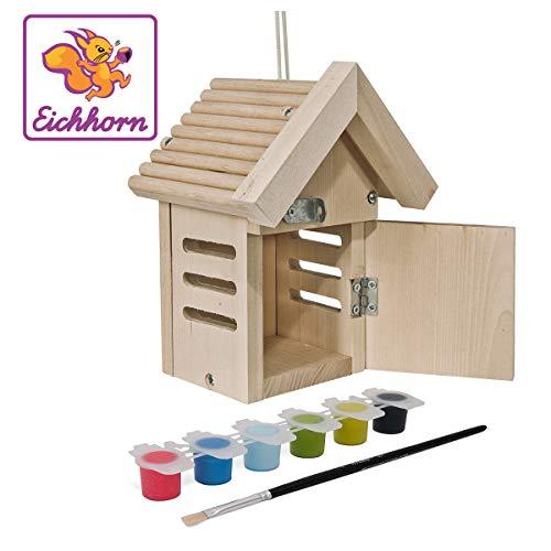 Eichhorn 100004583 Outdoor-100004583-Käferhaus aus Holz, zum Zusammenbauen und Bemalen, inkl. Pinsel und Farben, 10x10x20cm Lindenholz, DIY, Bunt