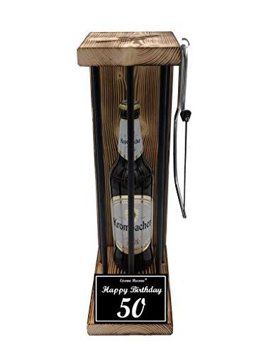 Happy Birthday 50 Geburtstag - Eiserne Reserve ® Black Edition mit Krombacher Pils 0,50L incl. Säge - 50 Geburtstag Geschenk Idee für Männer & Frauen Geschenke zum 50 Geburtstag