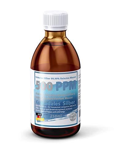 Kolloidales Silber hochdosiert 500PPM extra stark: 250ml Hochreines Silberwasser in brauner licht-hemmender Laborflasche (500ppm)