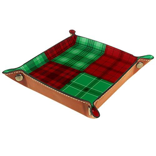Bandeja de Cuero Vector de textura de tela escocesa verde rojo de franela Almacenamiento Bandeja Organizador Bandeja de Almacenamiento Multifunción de Piel para Relojes,Llaves,Teléfono,Monedas