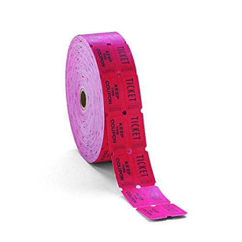 PM Company 59003 Consecutively Numbered Double Ticket Roll, Red (Roll of 2,000)