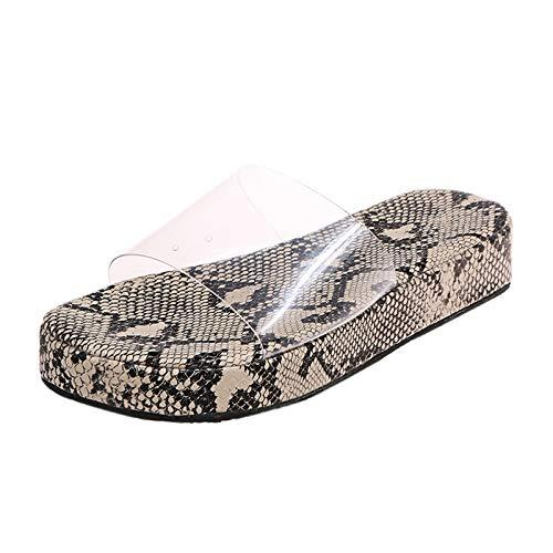 HIRIRI Summer Clear Strap Sandals for Women High Heels Peep Toe Platform Dress Shoes Flats Slippers