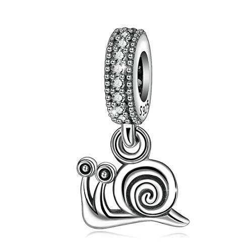 925 Sterling Silber Anhänger Kleine Schnecke Tier Anhänger Charme Halskette Armband Schmuck Zubehör Mädchen Mutter