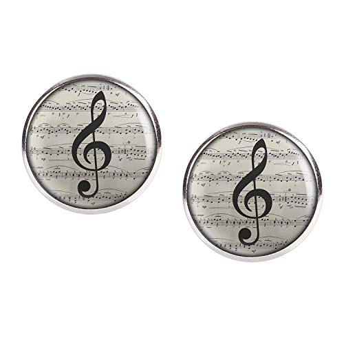 Mylery Ohrstecker Paar mit Motiv Noten-Schlüssel Noten-Blatt Musik silber 16mm