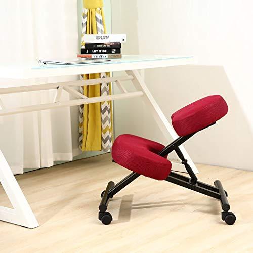 Ergonomischer Kniehocker zur Korrektur der Körperhaltung for schlechten Rücken, Unterstützung, höhenverstellbaren Komfort-Kniestuhl mit Rollen for Zuhause, Büro oder Klassenzimmer (Color : Red)