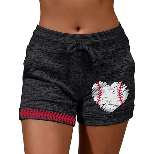Pantalones cortos de mujer impresión suelta diario ocio tendencia todo partido entrenamiento running, Negro, M