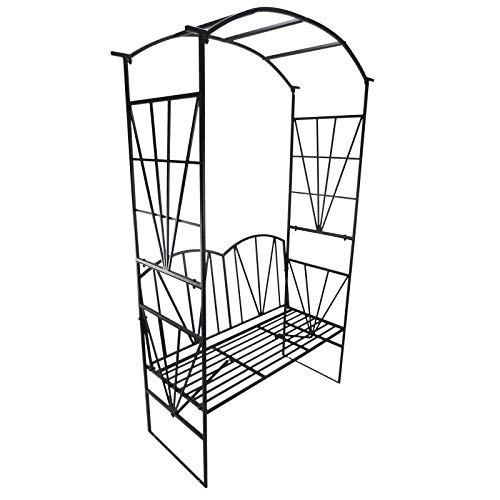 Outsunny Panchina da Giardino 2 Persone con Pergolato Metallo 115 x 59 x 203 cm Nero