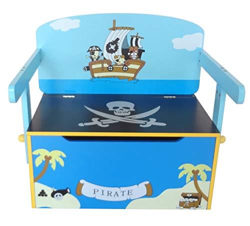 Bebe Style PRF1CTB-Blue Verwandelbare Spielzeugkiste + Tischbank + Stuhl - Holzkiste Aufbewahrung, blau - 2