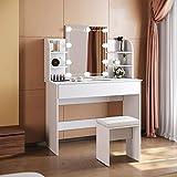 SONNI Tavolo per Cosmetici 108x40x140cm, Vanity Toeletta con Morbido Sgaballo, con Luce per Il...