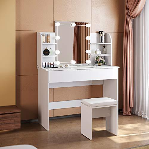 SONNI Tavolo per Cosmetici 108x40x140cm, Vanity Toeletta con Morbido Sgaballo, con Luce per Il Trucco, Moderno Mobile da Trucco - Bianca