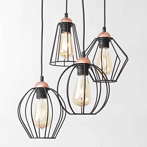 Hängeleuchte Schwarz 4-flammig Metall Schirm Drahtgestell Käfig Lampe Modern Frame Design Wohnzimmer Hängelampe Pendelleuchte