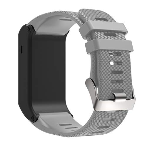 Für Garmin Vivoactive HR Armband, Silikon Gummi Uhrenarmband Sport Armband Edelstahl Verschluss Armband Replacement Wechselarmband für Garmin Vivoactive HR Sports SmartWatch (Grau)