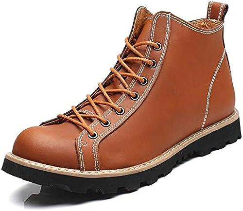 Fuxitoggo Herrenmode Casual High Ankle Stiefel Top Plain Farbe Round Top Waterproof Martin Stiefel (Farbe   Schwarz Größe   41 EU) (Farbe   Hellbraun, Größe   43 EU)