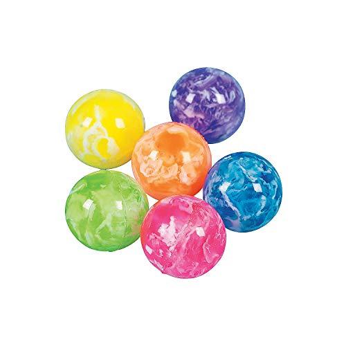Fun Express - Neon Swirled Bouncing Balls - Toys - Balls - Bouncing Balls - 48 Pieces