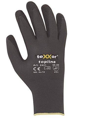 2er Pack Texxor topline 2431 Nitril beschichteter Arbeitshandschuh für Präzisions,- Fein- und allgemeine Montagearbeiten, Größe:11 (XXL)