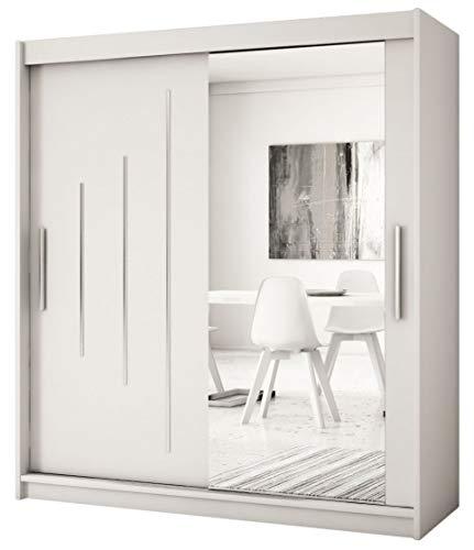 Kryspol Schwebetürenschrank York 2-200 cm mit Spiegel Kleiderschrank mit Kleiderstange und Einlegeboden Schlafzimmer- Wohnzimmerschrank Schiebetüren Modern Design (Weiß)