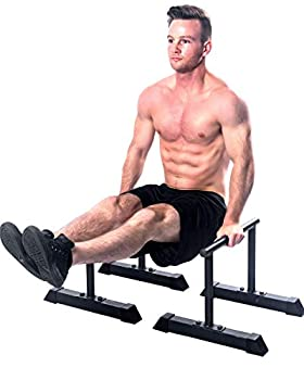 Parallettes Bars - Sturdy Dip & Push Up Bars for Strength HIIT Workouts Upper Body Calisthenics Equipment | Non-Slip Powder-Coated Handstand Parallettes | Planche Bar for Gymnastics Home Training