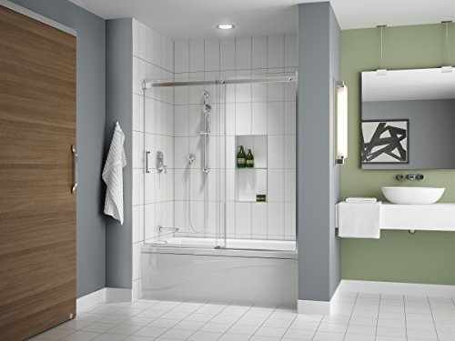 """Fleurco Apollo 57' to 60' W x 60' H Frameless Sliding Shower TUB Door Enclosure and Fixed Panel 1/4"""" 6 mm Tempered Clear Glass Chrome Finish NAP7232-11-40"""