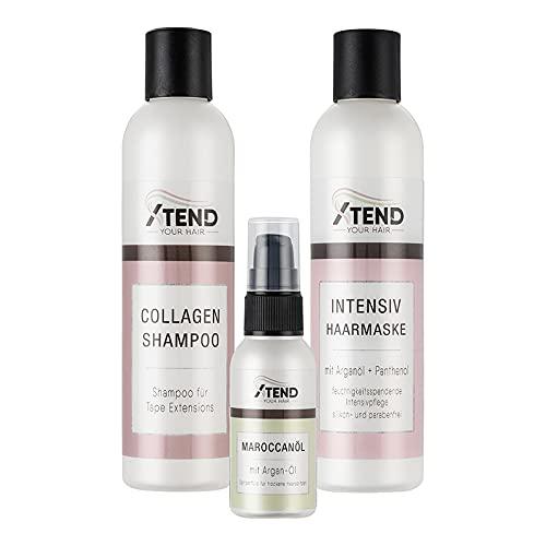 Spar-Set Xtend-your-Hair Pflegeserie für TapeOn & Microring Extensions - Shampoo - Intensiv Haarmaske -Maroccanoil