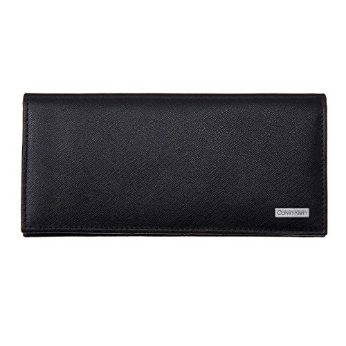 Calvin Klein Men's Leather Secretary with Interior Zipper Wallet (Black)