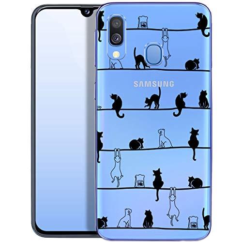 QULT Carcasa para Móvil Compatible con Funda Samsung Galaxy A40 Silicona Animales Transparente Suave Bumper Teléfono Caso para Samsung A40 con Dibujo Primavera de Gatos