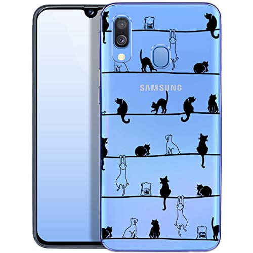 OOH!COLOR Handyhülle kompatibel mit Samsung Galaxy A40 Hülle Silikon transparent Ultra dünn Schutzhülle durchsichtig Bumper Hülle für Samsung A40 A405FN mit Motiv Katzen Frühling