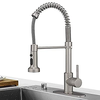 Hoimpro Lead Free High Arc Spring Kitchen Faucet with Pull Down Sprayer, Commercial Rv Single Lever Kitchen Sink Faucet,3 Function Single Handle Laundry Faucet, Brass/Brushed Nickel (1 or 3 Hole)