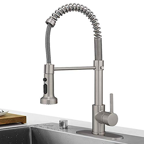 Hoimpro Lead Free High Arc Spring Kitchen Faucet with Pull...
