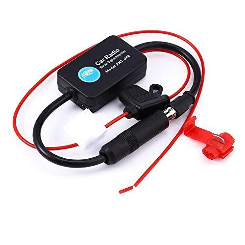 Iwinna Amplificador universal de señal FM y AM para antena de coche, adaptador de refuerzo de señal con adhesivo 3M para todos los coches y camiones
